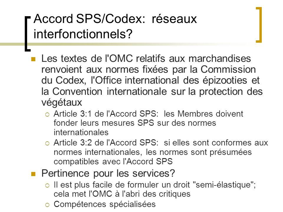 Accord SPS/Codex: réseaux interfonctionnels.