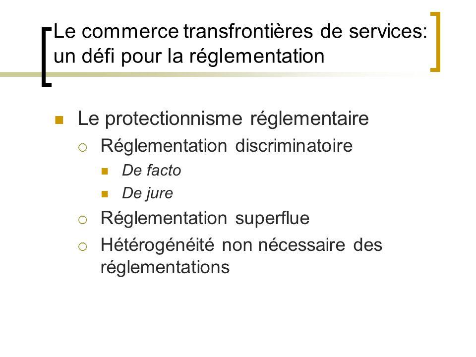 Le commerce transfrontières de services: un défi pour la réglementation Le protectionnisme réglementaire  Réglementation discriminatoire De facto De jure  Réglementation superflue  Hétérogénéité non nécessaire des réglementations