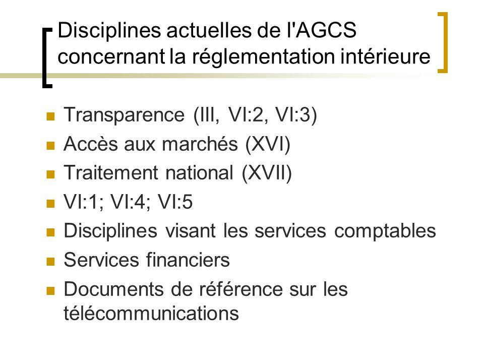 Disciplines actuelles de l AGCS concernant la réglementation intérieure Transparence (III, VI:2, VI:3) Accès aux marchés (XVI) Traitement national (XVII) VI:1; VI:4; VI:5 Disciplines visant les services comptables Services financiers Documents de référence sur les télécommunications