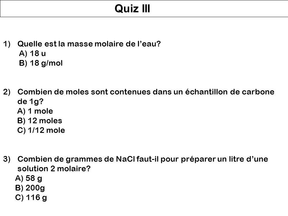 Quelques définitions... Le nombre d'Avogadro N A : N A = 6.02214 10 23 mol -1 La mole: 1 mole est la quantité d'une substance qui contient le nombre d