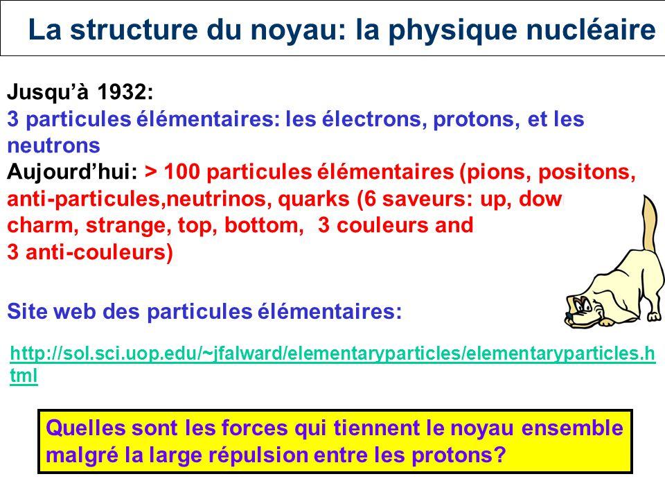 La structure du noyau La chimie : - changements dans le nuage électronique - forces électromagnétiques - énergie d'interaction typique: 400 kJ/mol La