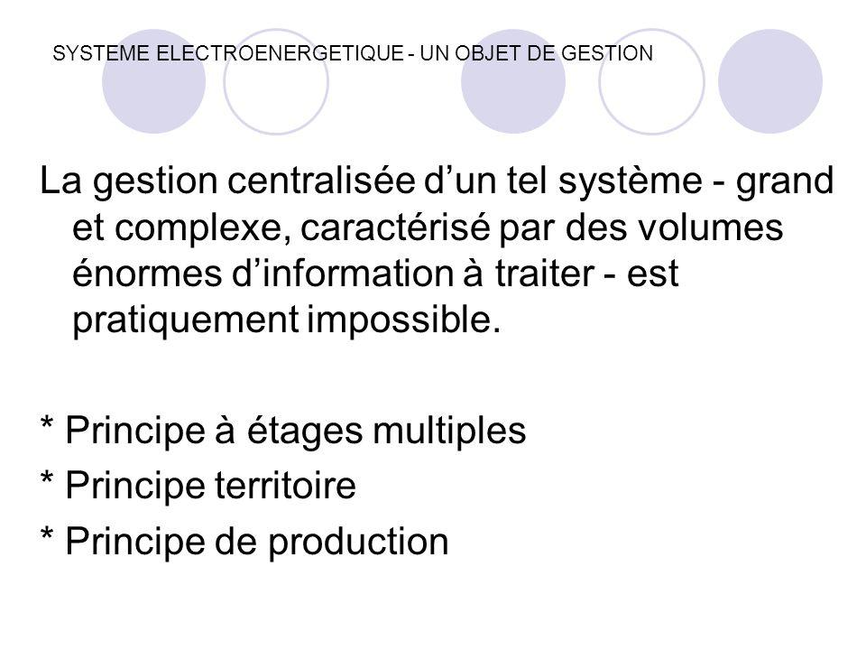SYSTEME ELECTROENERGETIQUE - UN OBJET DE GESTION La gestion centralisée d'un tel système - grand et complexe, caractérisé par des volumes énormes d'in