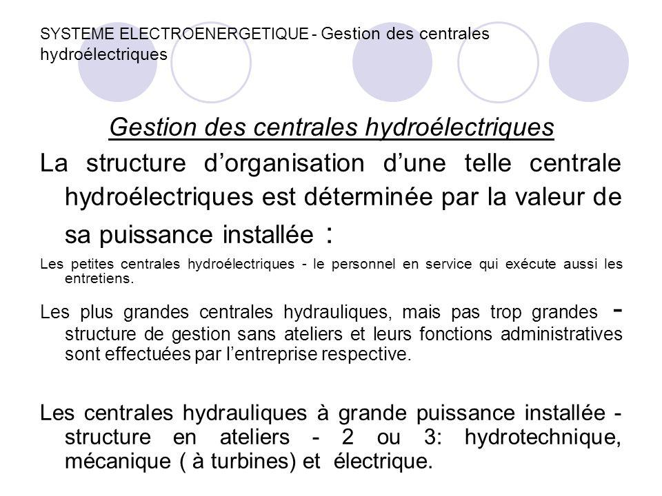 SYSTEME ELECTROENERGETIQUE - Gestion des centrales hydroélectriques Gestion des centrales hydroélectriques La structure d'organisation d'une telle cen