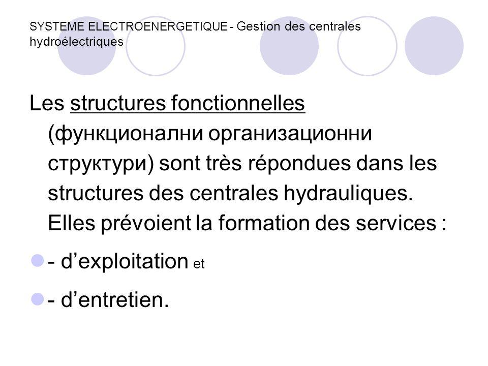 SYSTEME ELECTROENERGETIQUE - Gestion des centrales hydroélectriques Les structures fonctionnelles (функционални организационни структури) sont très ré