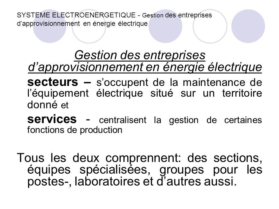 SYSTEME ELECTROENERGETIQUE - Gestion des entreprises d'approvisionnement en énergie électrique Gestion des entreprises d'approvisionnement en énergie