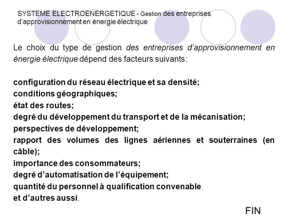 SYSTEME ELECTROENERGETIQUE - Gestion des entreprises d'approvisionnement en énergie électrique Le choix du type de gestion des entreprises d'approvisi