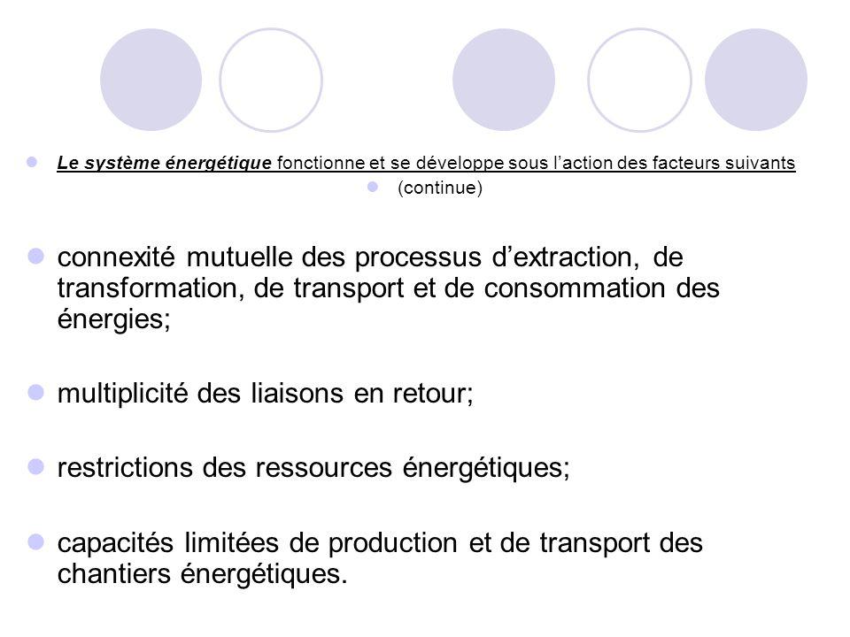 Le système énergétique fonctionne et se développe sous l'action des facteurs suivants (continue) connexité mutuelle des processus d'extraction, de tra