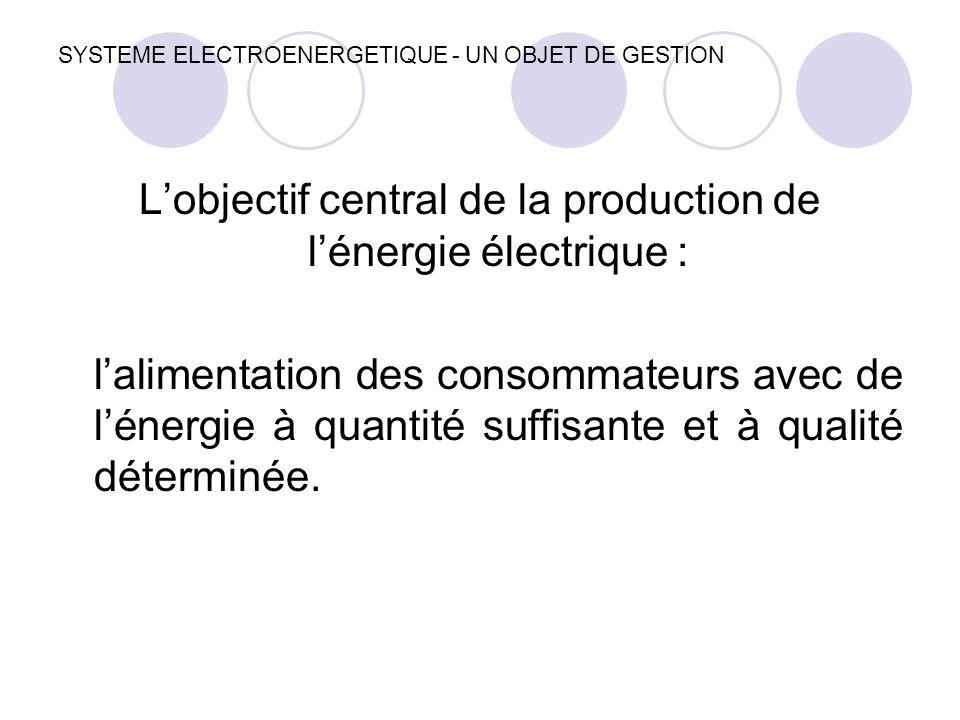 SYSTEME ELECTROENERGETIQUE - UN OBJET DE GESTION L'objectif central de la production de l'énergie électrique : l'alimentation des consommateurs avec d