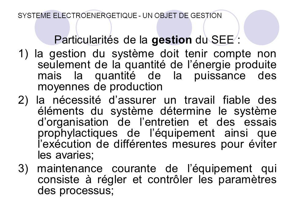 SYSTEME ELECTROENERGETIQUE - UN OBJET DE GESTION Particularités de la gestion du SEE : 1) la gestion du système doit tenir compte non seulement de la