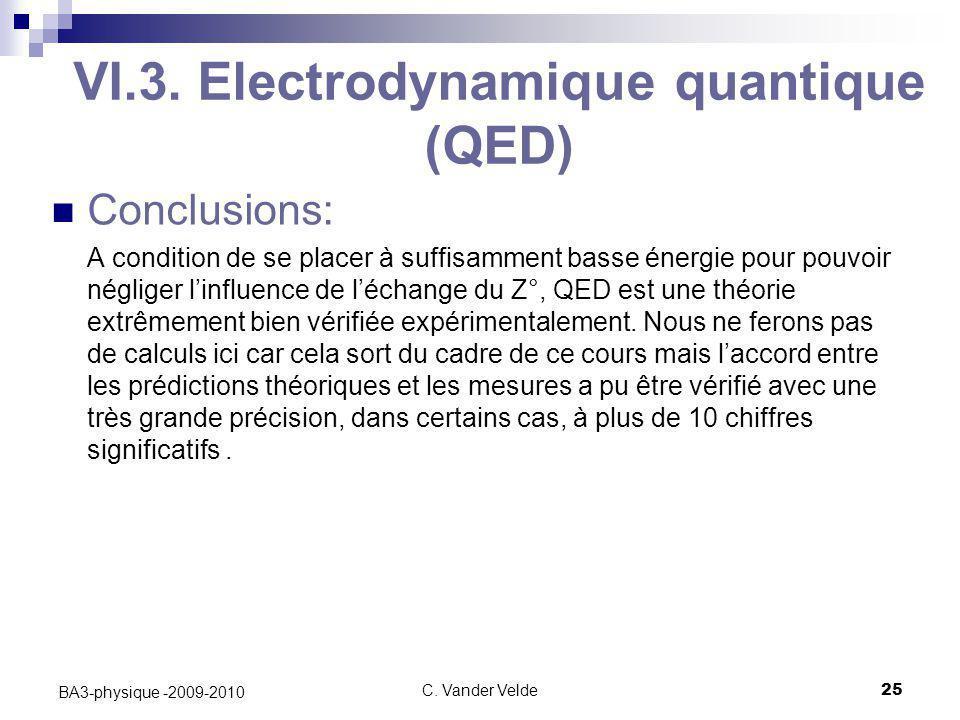 C. Vander Velde25 BA3-physique -2009-2010 VI.3. Electrodynamique quantique (QED) Conclusions: A condition de se placer à suffisamment basse énergie po