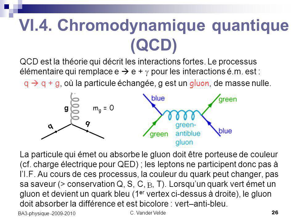C. Vander Velde26 BA3-physique -2009-2010 QCD est la théorie qui décrit les interactions fortes. Le processus élémentaire qui remplace e  e +  pour