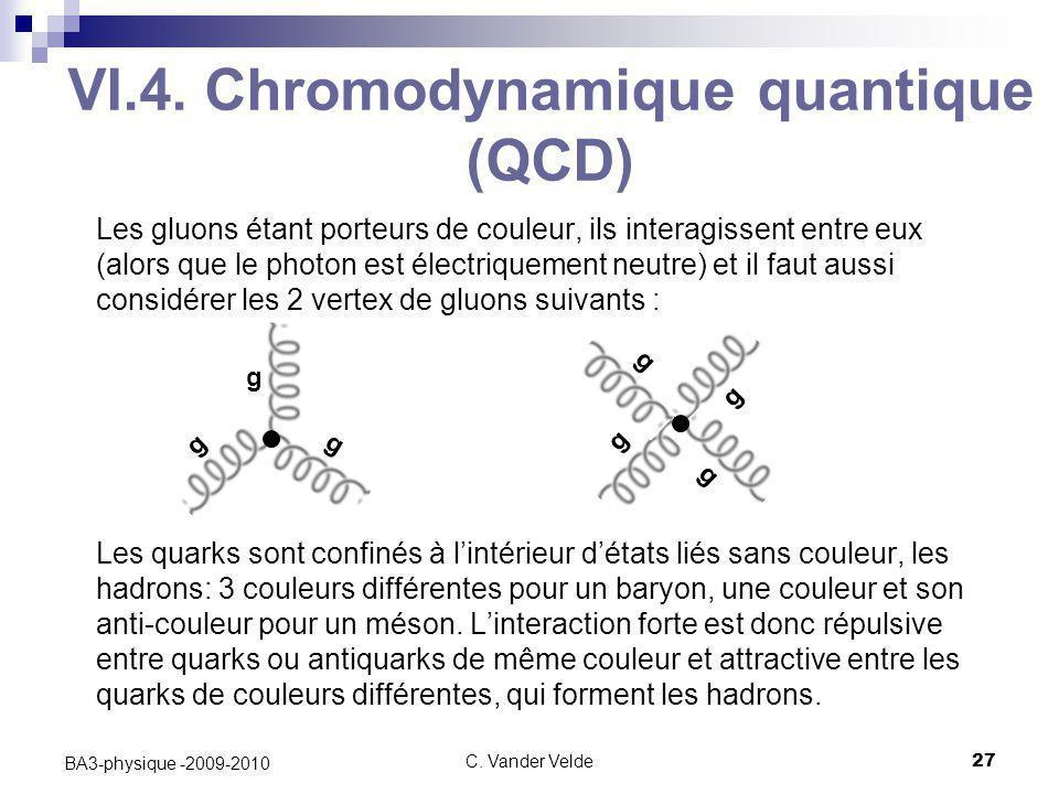 C. Vander Velde27 BA3-physique -2009-2010 VI.4. Chromodynamique quantique (QCD) Les gluons étant porteurs de couleur, ils interagissent entre eux (alo
