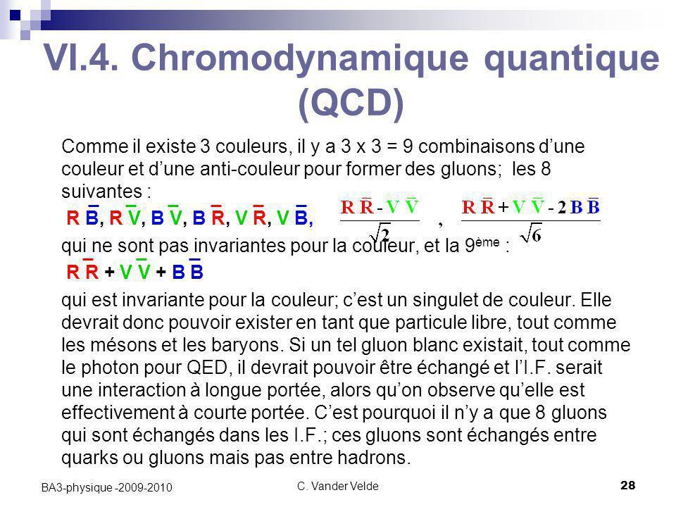 C. Vander Velde28 BA3-physique -2009-2010 VI.4. Chromodynamique quantique (QCD) Comme il existe 3 couleurs, il y a 3 x 3 = 9 combinaisons d'une couleu