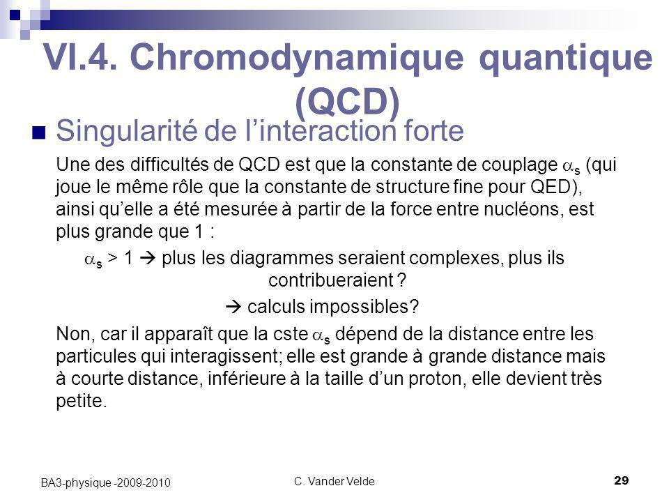 C. Vander Velde29 BA3-physique -2009-2010 VI.4. Chromodynamique quantique (QCD) Singularité de l'interaction forte Une des difficultés de QCD est que