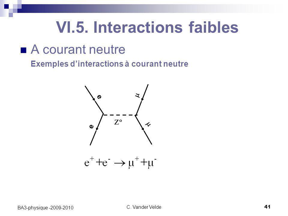 C. Vander Velde41 BA3-physique -2009-2010 VI.5. Interactions faibles A courant neutre Exemples d'interactions à courant neutre  e e  