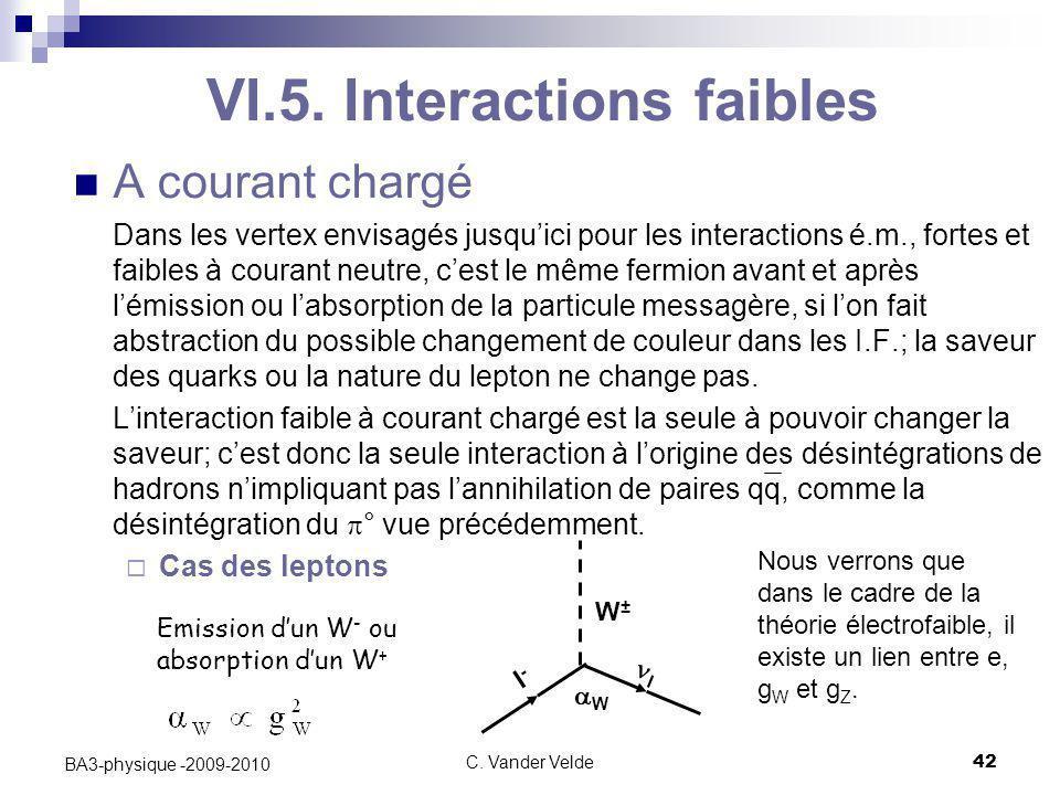 C. Vander Velde42 BA3-physique -2009-2010 VI.5. Interactions faibles A courant chargé Dans les vertex envisagés jusqu'ici pour les interactions é.m.,