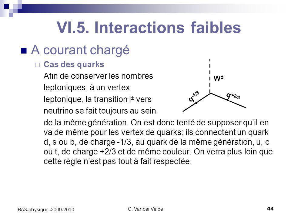 C. Vander Velde44 BA3-physique -2009-2010 VI.5. Interactions faibles A courant chargé  Cas des quarks Afin de conserver les nombres leptoniques, à un