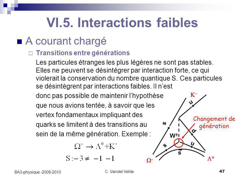C. Vander Velde47 BA3-physique -2009-2010 VI.5. Interactions faibles A courant chargé  Transitions entre générations Les particules étranges les plus