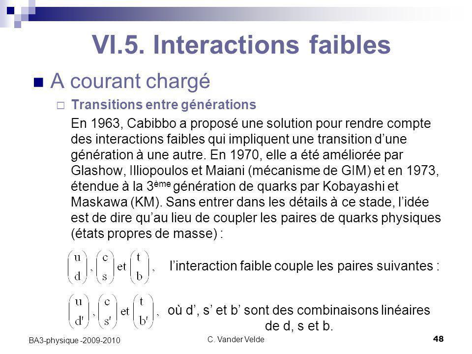 C. Vander Velde48 BA3-physique -2009-2010 VI.5. Interactions faibles A courant chargé  Transitions entre générations En 1963, Cabibbo a proposé une s