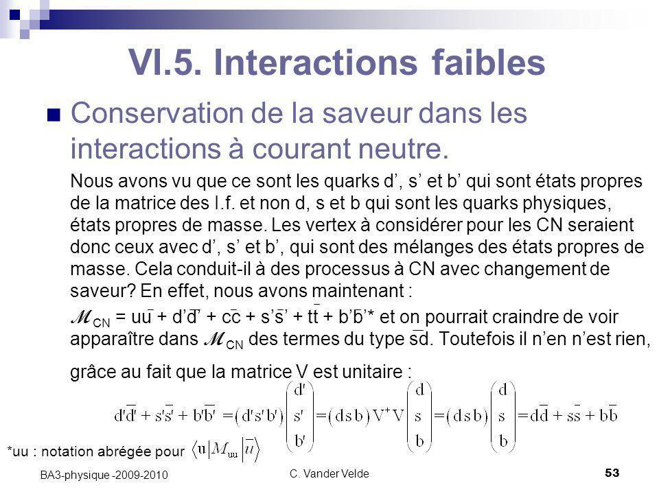 C. Vander Velde53 BA3-physique -2009-2010 VI.5. Interactions faibles Conservation de la saveur dans les interactions à courant neutre. Nous avons vu q