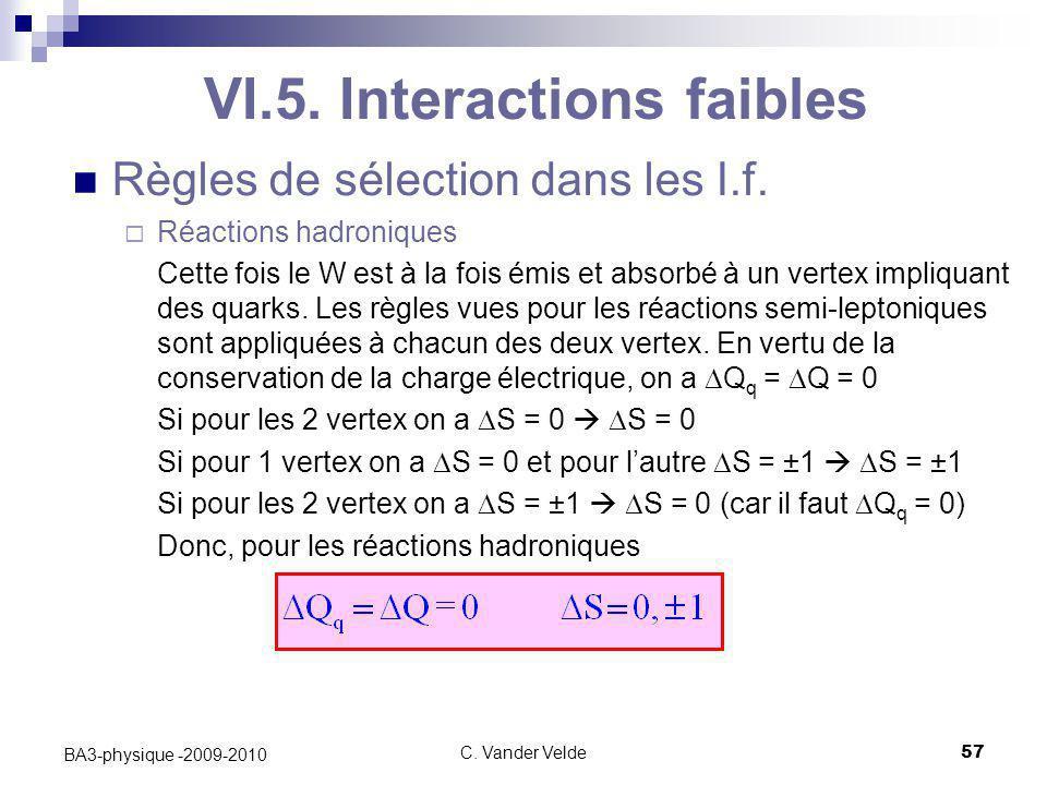 C. Vander Velde57 BA3-physique -2009-2010 Règles de sélection dans les I.f.  Réactions hadroniques Cette fois le W est à la fois émis et absorbé à un