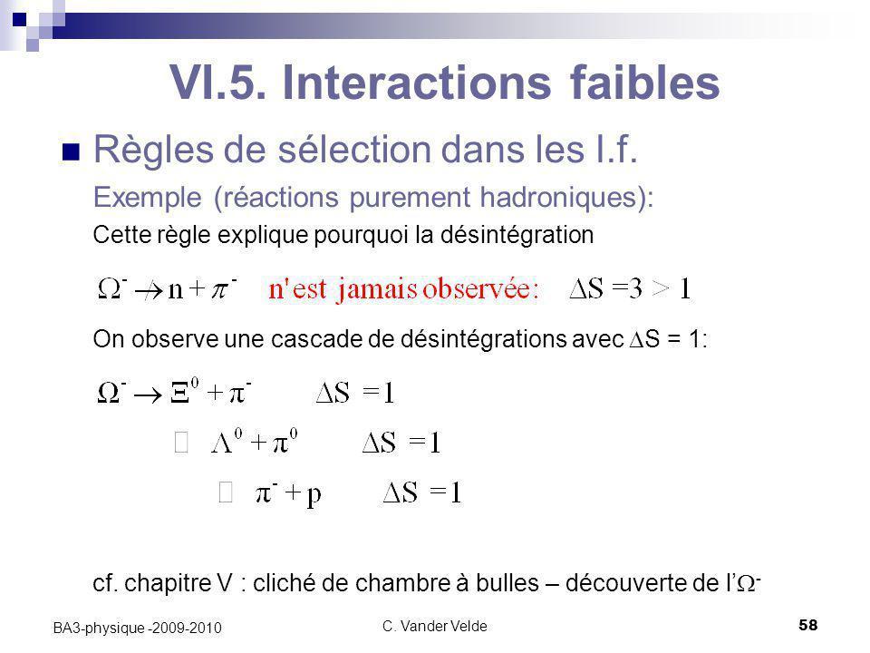 C. Vander Velde58 BA3-physique -2009-2010 VI.5. Interactions faibles Règles de sélection dans les I.f. Exemple (réactions purement hadroniques): Cette