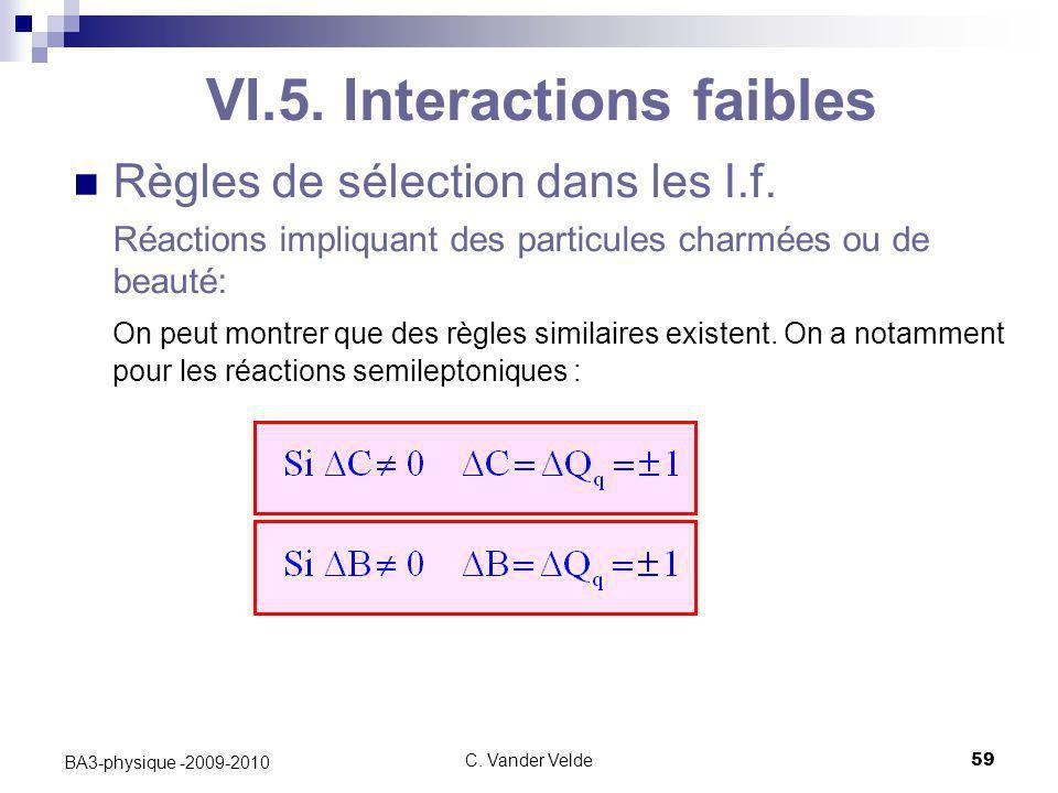 C. Vander Velde59 BA3-physique -2009-2010 VI.5. Interactions faibles Règles de sélection dans les I.f. Réactions impliquant des particules charmées ou