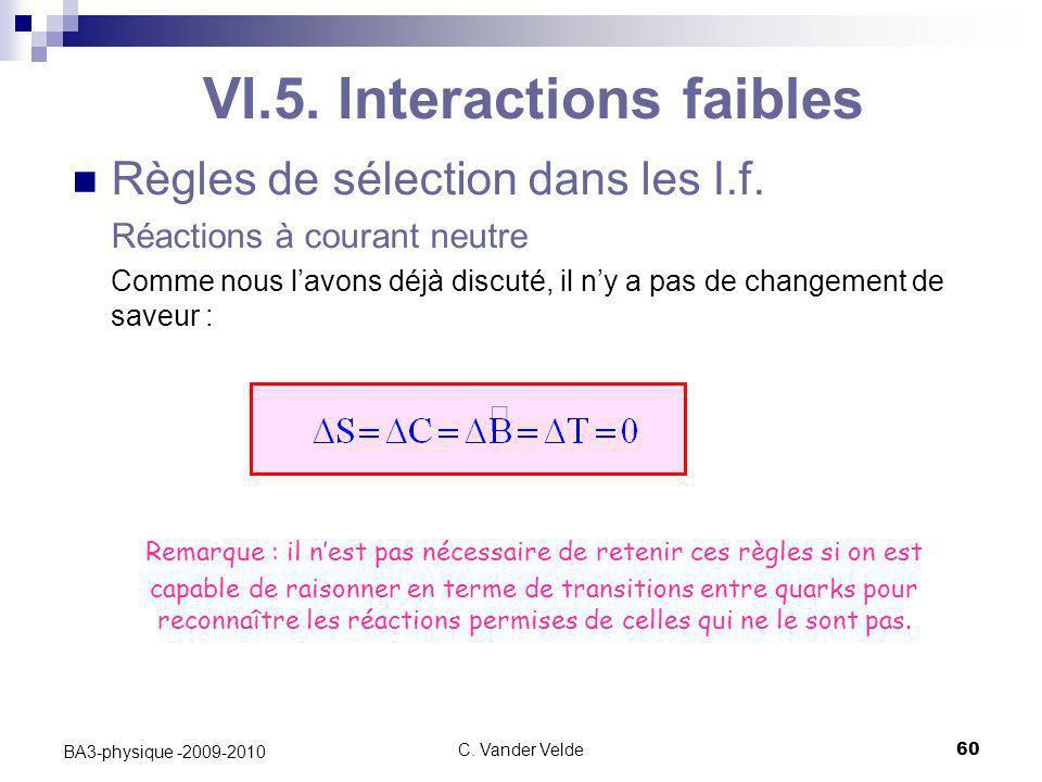 C. Vander Velde60 BA3-physique -2009-2010 VI.5. Interactions faibles Règles de sélection dans les I.f. Réactions à courant neutre Comme nous l'avons d