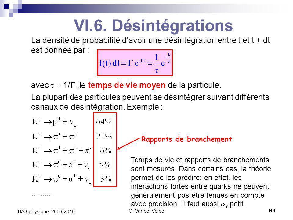 C. Vander Velde63 BA3-physique -2009-2010 VI.6. Désintégrations La densité de probabilité d'avoir une désintégration entre t et t + dt est donnée par