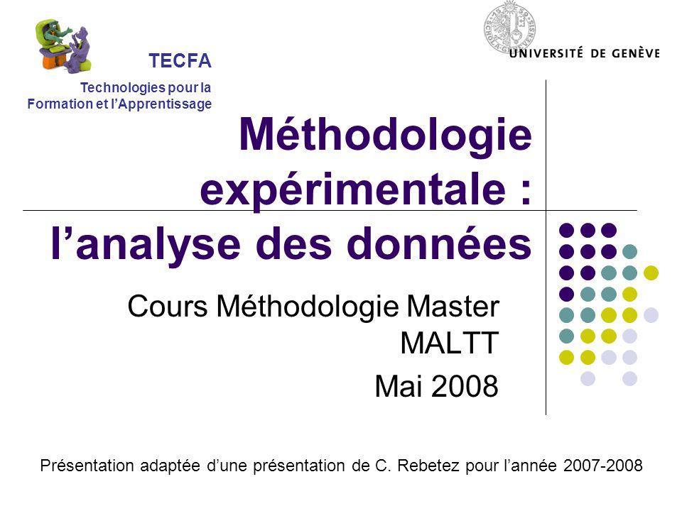 Cours Méthodologie Master MALTT Mai 2008 TECFA Technologies pour la Formation et l'Apprentissage Méthodologie expérimentale : l'analyse des données Pr