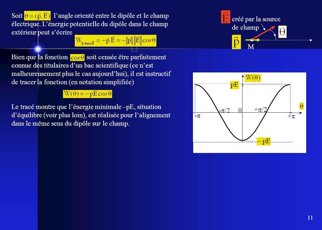 11 M créé par la source de champ Soit l'angle orienté entre le dipôle et le champ électrique. L'énergie potentielle du dipôle dans le champ extérieur