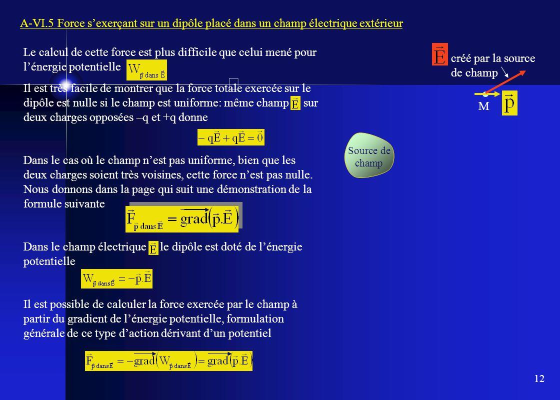12 A-VI.5 Force s'exerçant sur un dipôle placé dans un champ électrique extérieur M Source de champ créé par la source de champ Le calcul de cette for