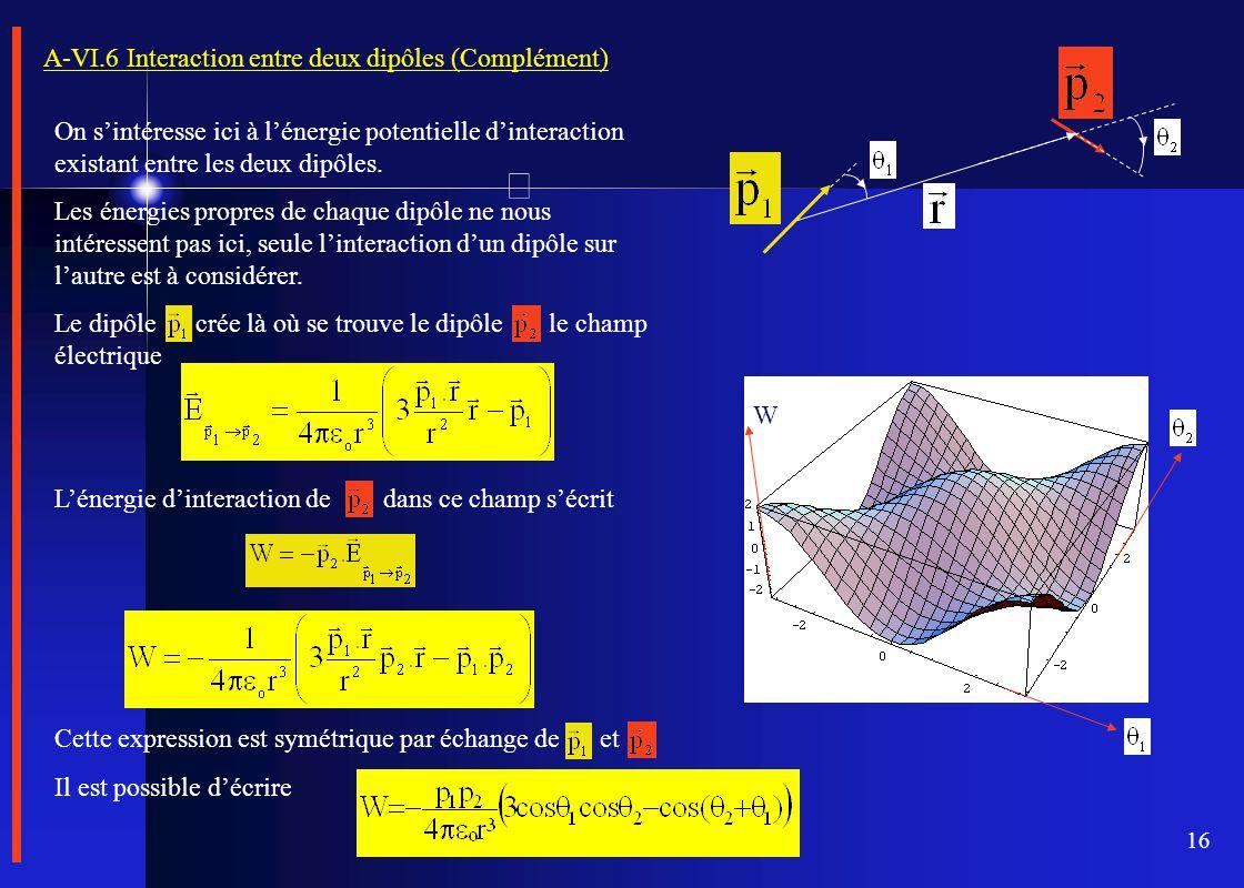 16 A-VI.6 Interaction entre deux dipôles (Complément) On s'intéresse ici à l'énergie potentielle d'interaction existant entre les deux dipôles. Les én