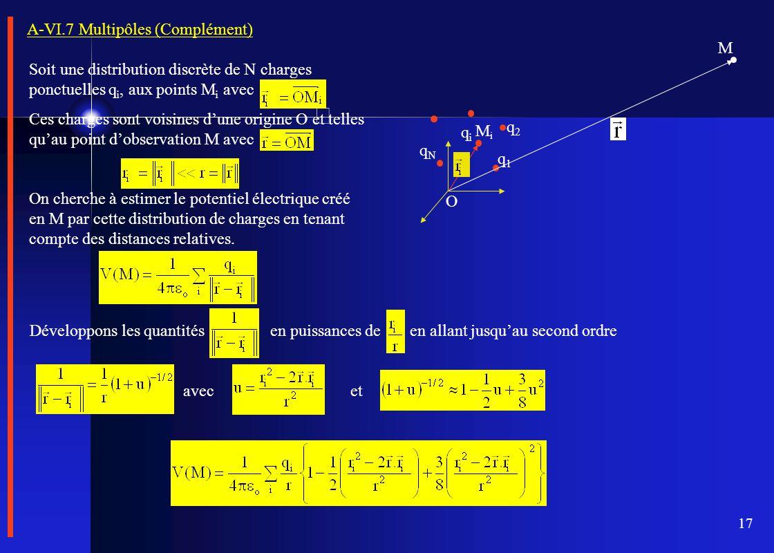 17 A-VI.7 Multipôles (Complément) Soit une distribution discrète de N charges ponctuelles q i, aux points M i avec Ces charges sont voisines d'une ori