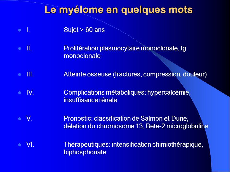 Le myélome en quelques mots I.Sujet > 60 ans II.Prolifération plasmocytaire monoclonale, Ig monoclonale III.Atteinte osseuse (fractures, compression,