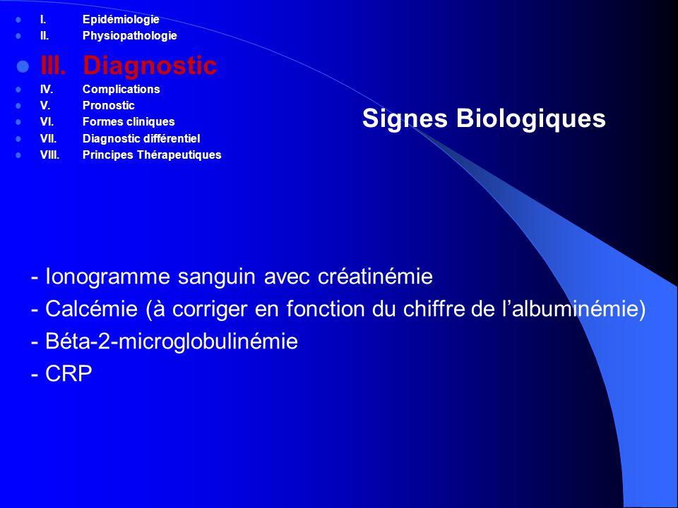 Le myélome en quelques mots I.Sujet > 60 ans II.Prolifération plasmocytaire monoclonale, Ig monoclonale III.Atteinte osseuse (fractures, compression, douleur) IV.Complications métaboliques: hypercalcémie, insuffisance rénale V.Pronostic: classification de Salmon et Durie, déletion du chromosome 13, Beta-2 microglobuline VI.Thérapeutiques: intensification chimiothérapique, biphosphonate