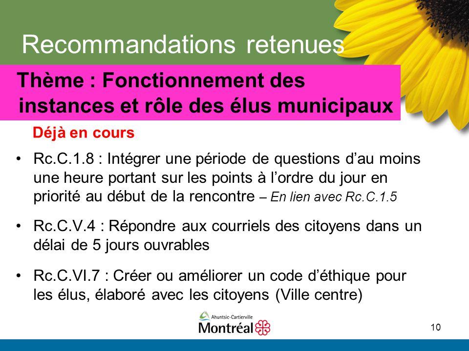 10 Recommandations retenues Rc.C.1.8 : Intégrer une période de questions d'au moins une heure portant sur les points à l'ordre du jour en priorité au