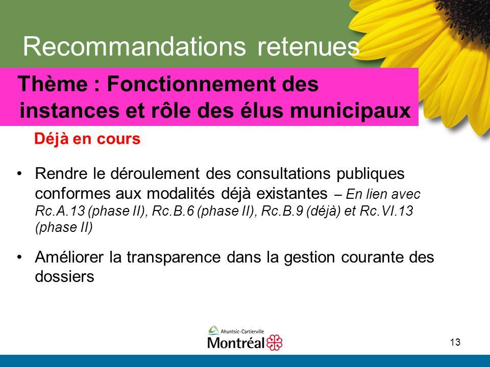 13 Recommandations retenues Rendre le déroulement des consultations publiques conformes aux modalités déjà existantes – En lien avec Rc.A.13 (phase II