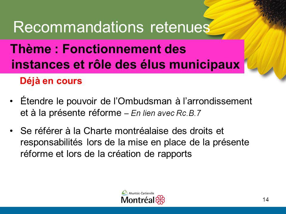 14 Recommandations retenues Étendre le pouvoir de l'Ombudsman à l'arrondissement et à la présente réforme – En lien avec Rc.B.7 Se référer à la Charte