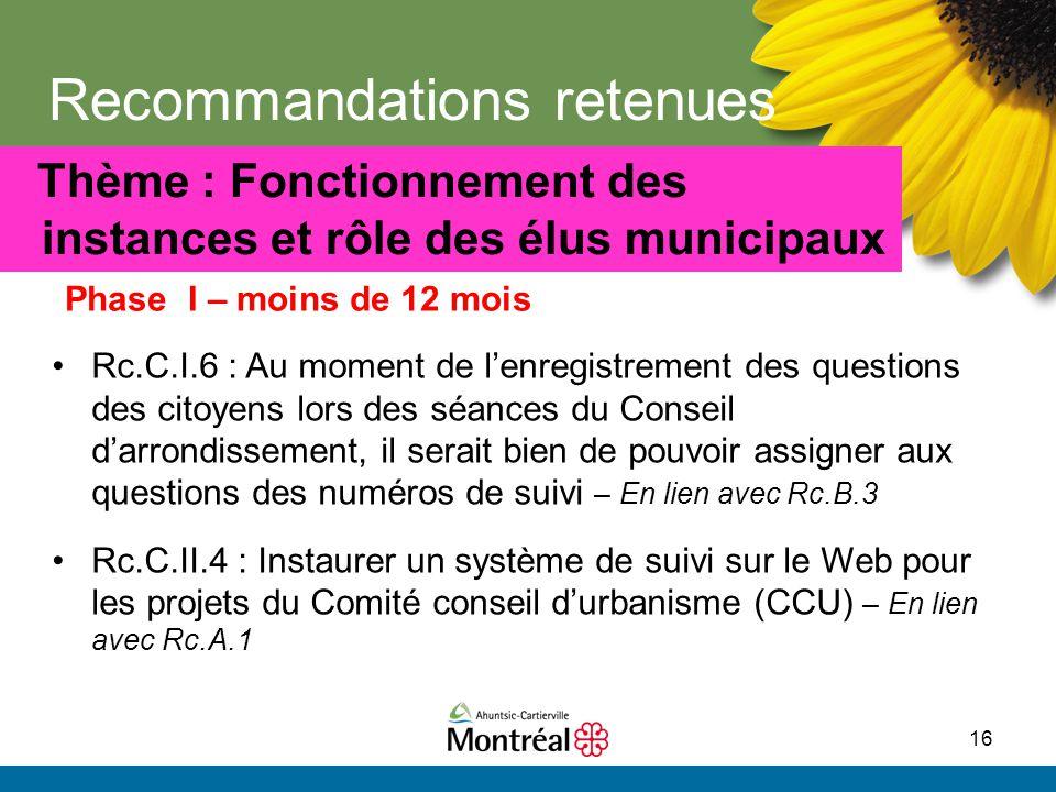 16 Recommandations retenues Thème : Fonctionnement des instances et rôle des élus municipaux Rc.C.I.6 : Au moment de l'enregistrement des questions de
