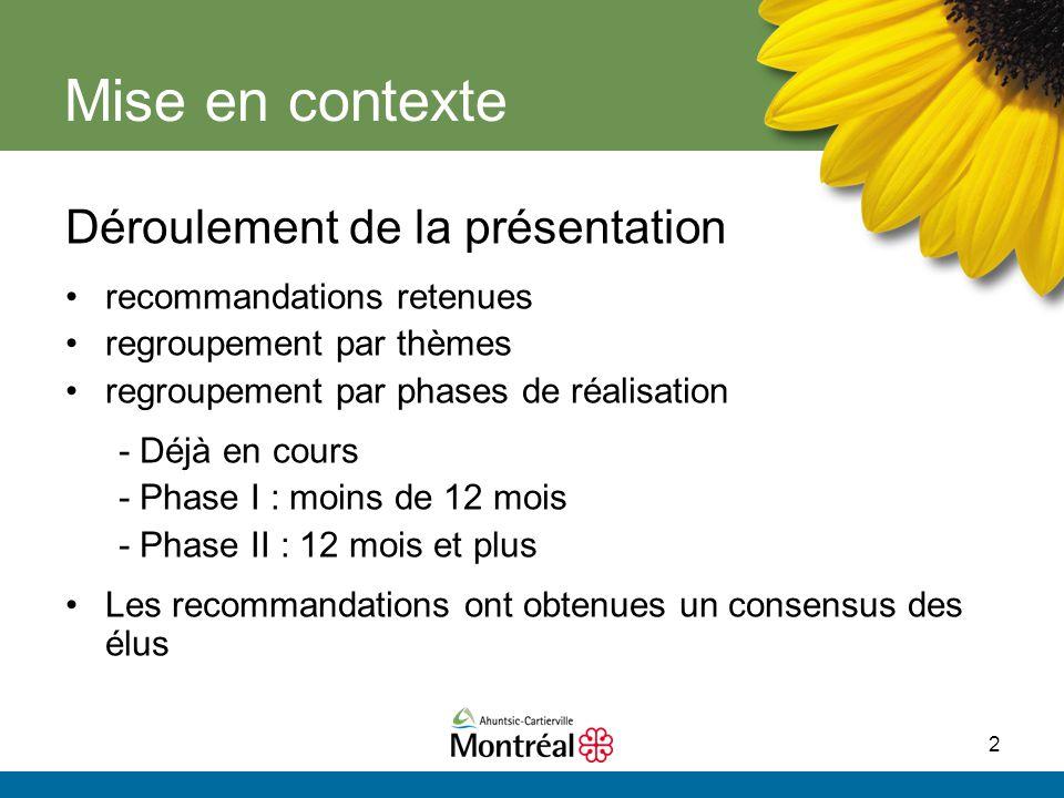 2 Mise en contexte Déroulement de la présentation recommandations retenues regroupement par thèmes regroupement par phases de réalisation - Déjà en co