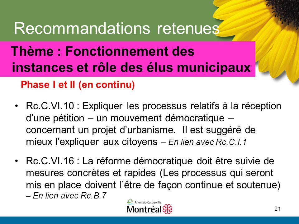 21 Recommandations retenues Phase I et II (en continu) Thème : Fonctionnement des instances et rôle des élus municipaux Rc.C.VI.10 : Expliquer les pro