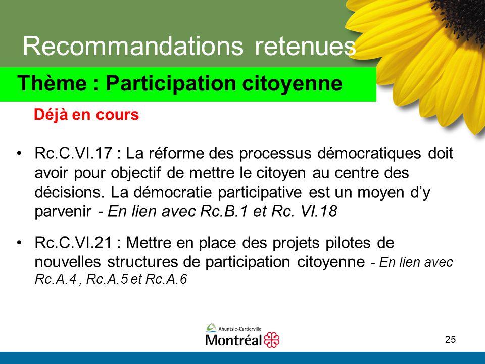25 Recommandations retenues Rc.C.VI.17 : La réforme des processus démocratiques doit avoir pour objectif de mettre le citoyen au centre des décisions.