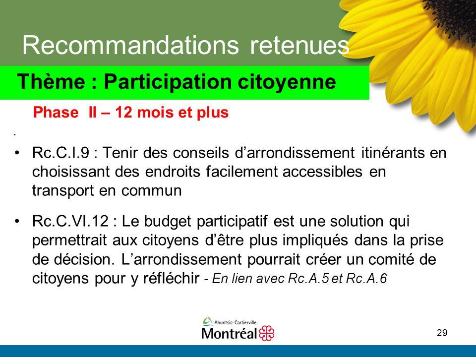 29 Recommandations retenues Rc.C.I.9 : Tenir des conseils d'arrondissement itinérants en choisissant des endroits facilement accessibles en transport