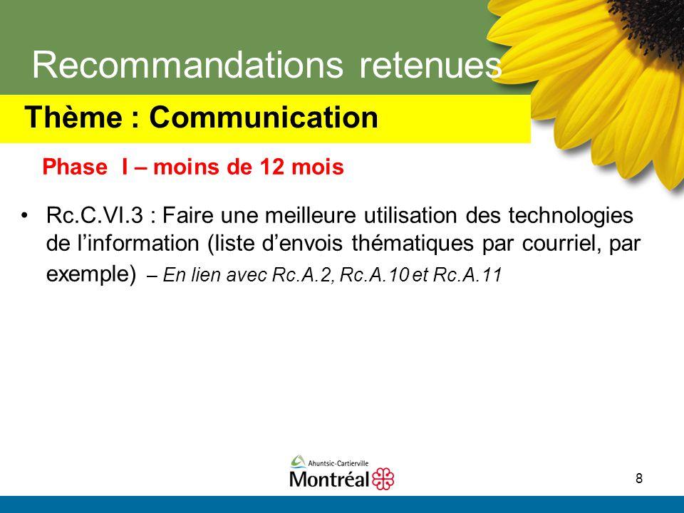 8 Recommandations retenues Rc.C.VI.3 : Faire une meilleure utilisation des technologies de l'information (liste d'envois thématiques par courriel, par