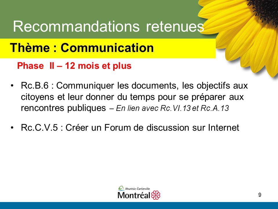 9 Recommandations retenues Rc.B.6 : Communiquer les documents, les objectifs aux citoyens et leur donner du temps pour se préparer aux rencontres publ