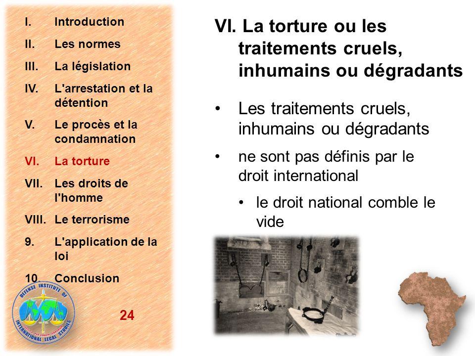 Les traitements cruels, inhumains ou dégradants ne sont pas définis par le droit international le droit national comble le vide 24 I.Introduction II.L