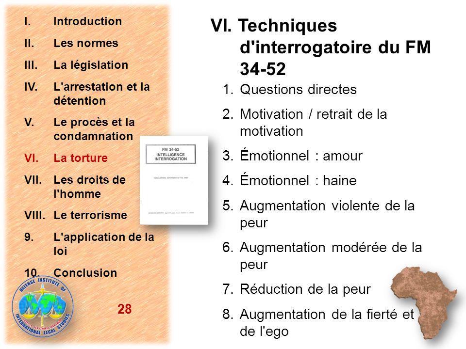 VI. Techniques d'interrogatoire du FM 34-52 1. Questions directes 2. Motivation / retrait de la motivation 3. Émotionnel : amour 4. Émotionnel : haine