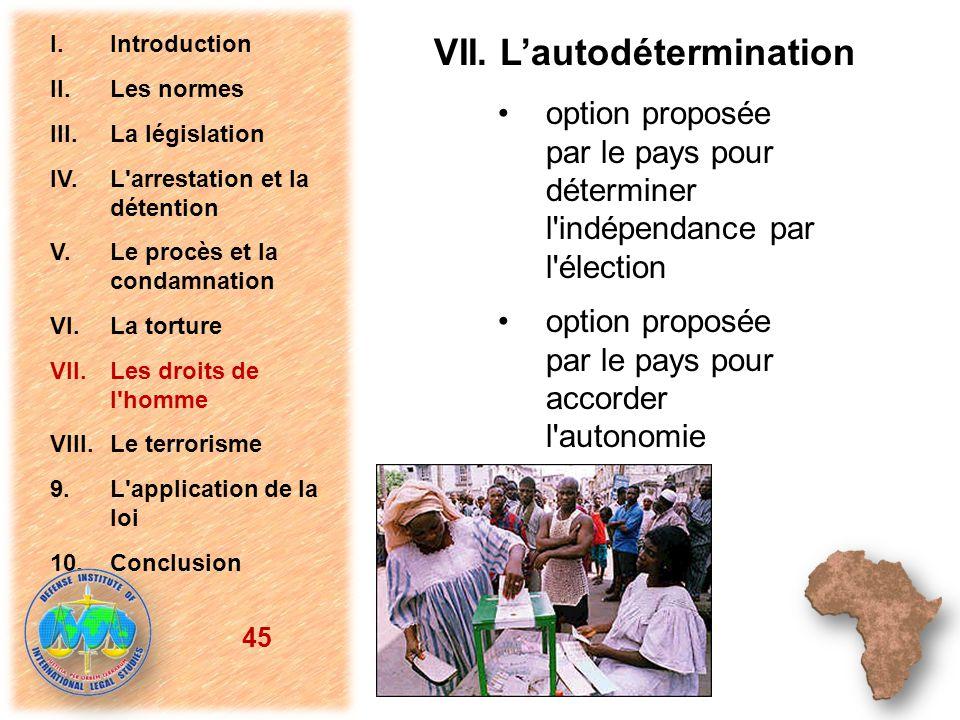 option proposée par le pays pour déterminer l'indépendance par l'élection option proposée par le pays pour accorder l'autonomie 45 I.Introduction II.L