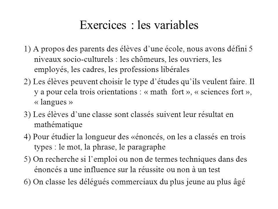 Exercices : les variables 1) A propos des parents des élèves d'une école, nous avons défini 5 niveaux socio-culturels : les chômeurs, les ouvriers, le